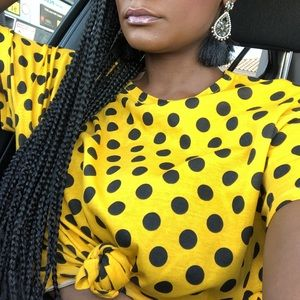 Zara yellow polka dot shirt